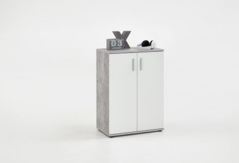 Commode Albi 2 portes - béton/blanc
