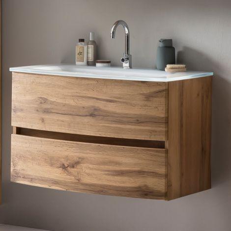 Meuble vasque Kornel 80cm avec vasque blanche - chêne