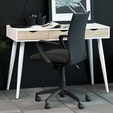Console/bureau Jupiter 110 cm 3 tiroirs - blanc/chêne