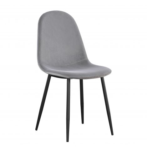 Lot de 4 chaises en velours Valeska - gris