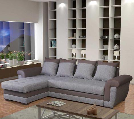 Canapé Sabine avec canapé-lit & rangement - gris/taupe