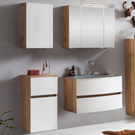 Ensemble salle de bains Kornel 8 à 4 pièces avec vasque grise - chêne/blanc mat