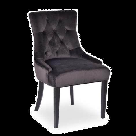 Lot de 2 chaises Christa en velours  - gris/pieds foncés