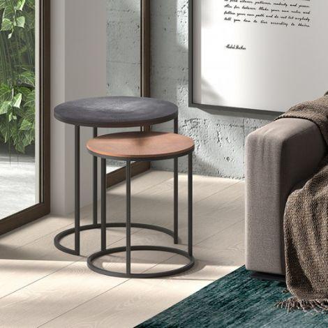 Lot de 2 tables d'appoint Livv - noir/bronze
