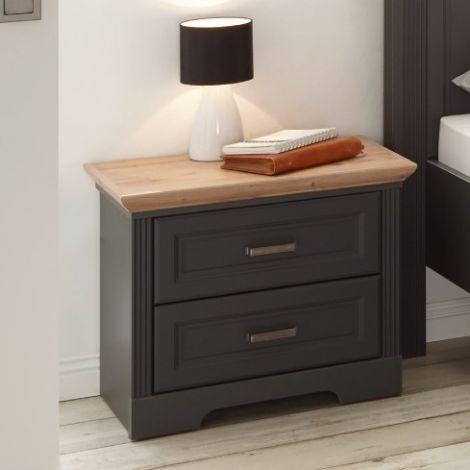 Table de chevet Jacco 65 avec 2 tiroirs - graphite/chêne