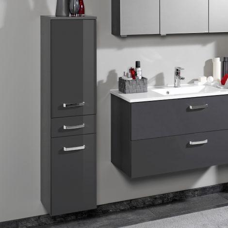 Colonne Bobbi basse 30cm 2 portes et 1 tiroir - graphite/gris brillant