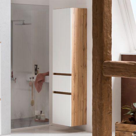 Colonne Kornel/Luna 40cm 2 portes & 1 tiroir - chêne/blanc mat