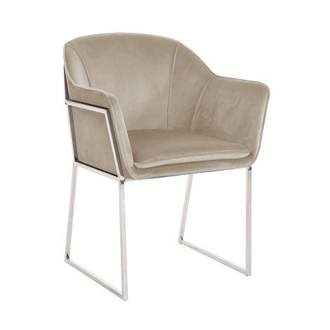 Chaise de salle à manger Tresanto velours - kaki