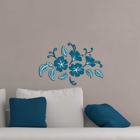Stickers muraux bleus 3D Butterflies & Leaves - mousse