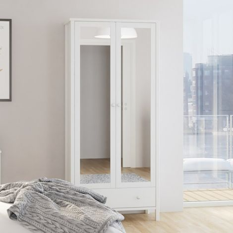Garde-robe Tarik 89cm avec 2 portes miroir & tiroir - blanc