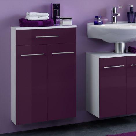 Armoire de salle de bains Small 50cm 1 tiroir & 2 portes - violet brillant