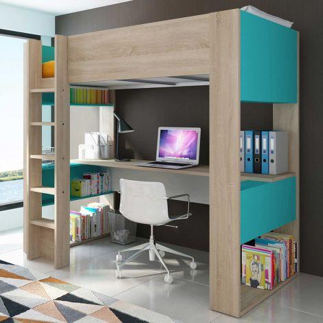 Lit mezzanine Beau avec bureau - bleu