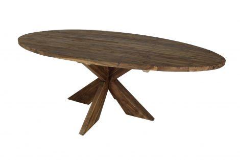 Table de repas ovale avec pied entrejambe - 220x110 cm - vintage - teck