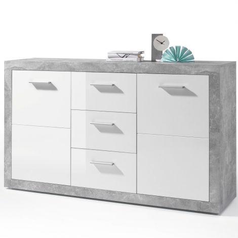 Bahut Stanno 147cm avec 2 portes & 3 tiroirs - béton/blanc