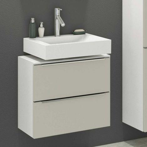 Meuble sous lavabo Hansen 60cm 2 tiroirs - gris/blanc