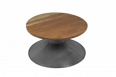 Table basse Diabolo ø80cm - bois recyclé/fer