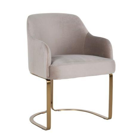 Chaise de salle à manger Hadley velours - kaki/or