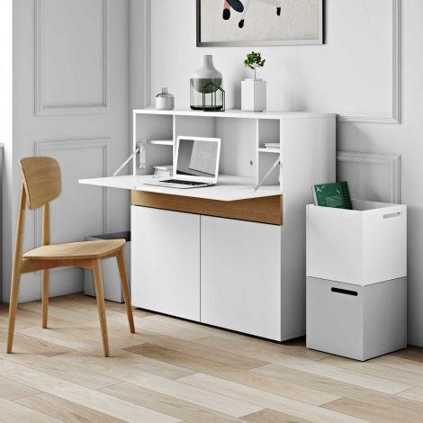 Bureau/meuble de rangement Fox 110cm - blanc/chêne