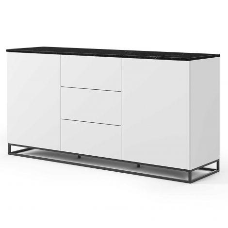 Bahut Join 180cm avec piètement en métal, 2 portes et 3 tiroirs - blanc mat/marbre noir