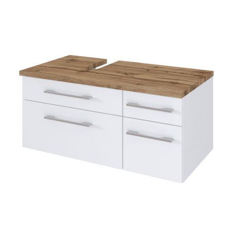 Meuble sous lavabo Dasa (gauche) 90cm à 4 tiroirs - blanc