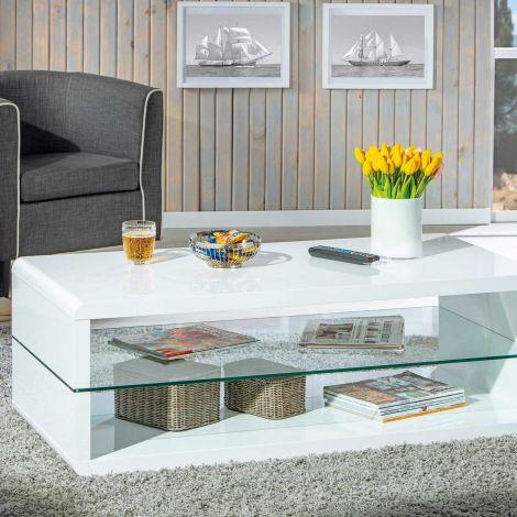 Table basse Xono 120x60 avec étagère en verre - blanc brillant