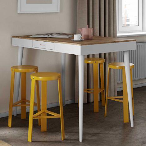 Table de bar Horizon 134x85 avec 2 tiroirs - chêne/blanc