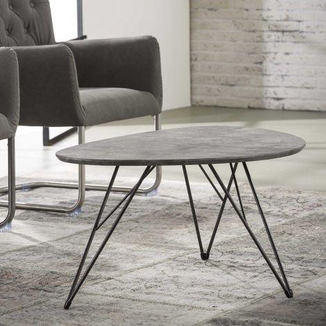 Table basse Nova 90x60 avec pieds épingle - béton
