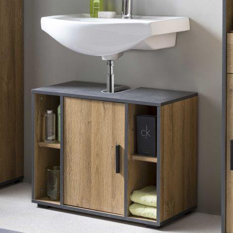 Meuble sous lavabo Ariadna 65 cm avec porte & 4 niches - chêne vieilli/gris graphite