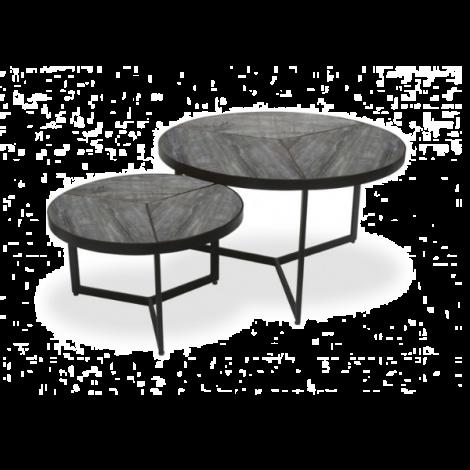 Lot de 2 tables d'appoint Arya - gris/noir