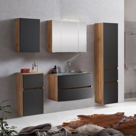 Ensemble de salle de bains Kornel 14 à 5 pièces avec vasque grise - chêne/gris mat