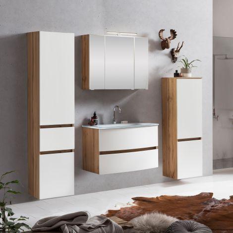 Ensemble salle de bains Kornel 9 à 4 pièces avec vasque blanche - chêne/blanc mat