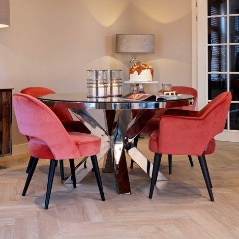 Table à manger Kensington Ø140 - brun/argent