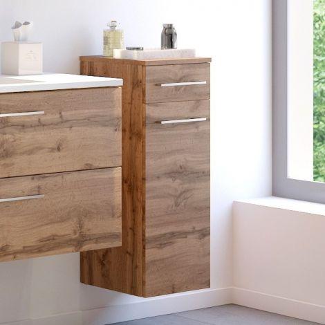 Armoire de salle de bains Sefa 30cm 1 porte et 1 tiroir - chêne
