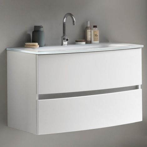 Meuble vasque Kornel 80cm avec vasque blanche - blanc