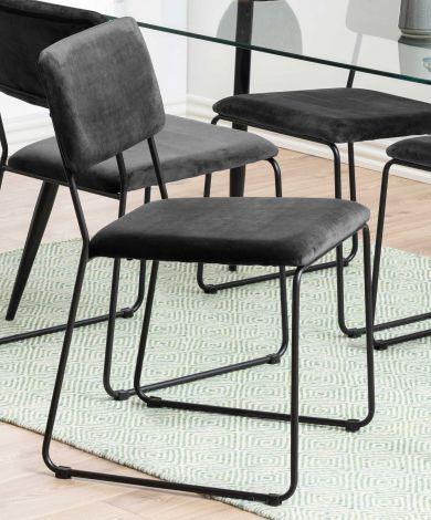 Set de 2 chaises en velours Nelly - gris foncé/noir