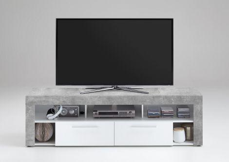 Meuble TV Vidi 180 cm - béton/blanc