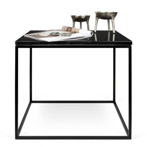 Table d'appoint Gleam 50x50 - marbre noir/acier