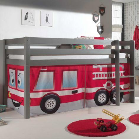 Lit mi-hauteur Charlotte gris avec tente - pompier