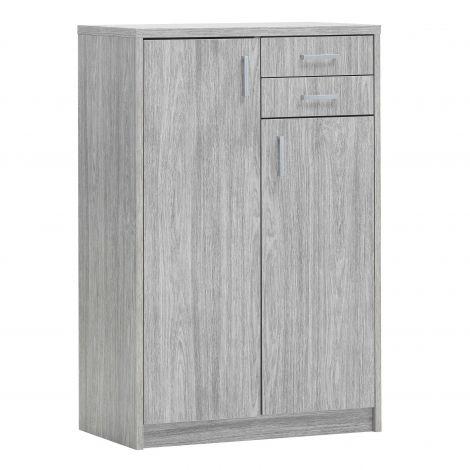 Commode Spacio 110cm 2 portes/2 tiroirs - chêne gris