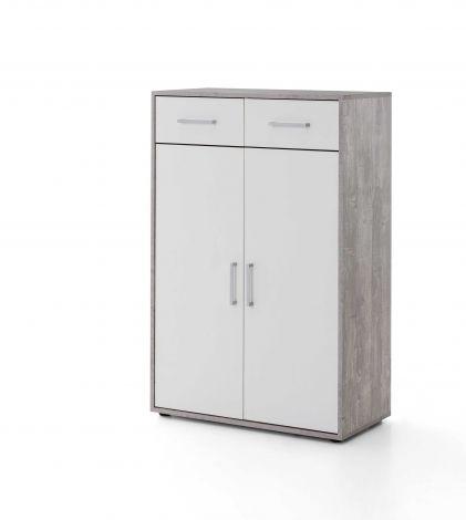 Armoire Maxi-office 2 portes & 2 tiroirs - béton/blanc