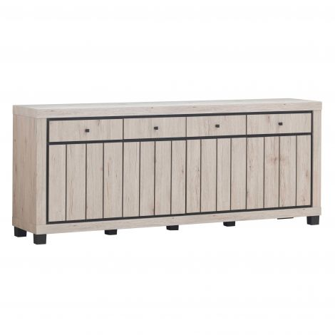 Bahut Elke 224cm 4 portes & tiroirs - chêne