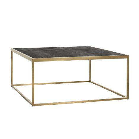 Table basse Bony 90x90cm ouvert - noir/or