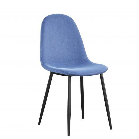 Lot de 4 chaises Jo velours - bleu