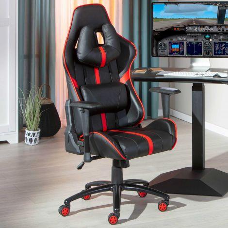 Chaise de bureau pour gaming Molly - noir/rouge