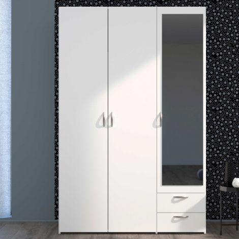 Armoire de rangement Salvador miroir, 3 portes & 2 tiroirs - blanc