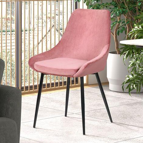 Lot de 2 chaises Mirano métal/velours - rose