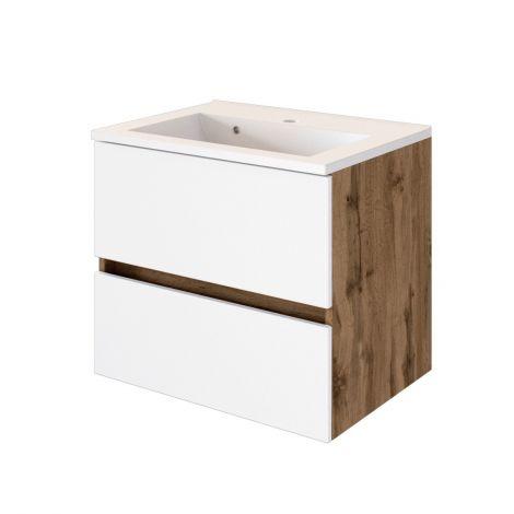 Meuble vasque Luna 60cm 2 tiroirs - chêne/blanc