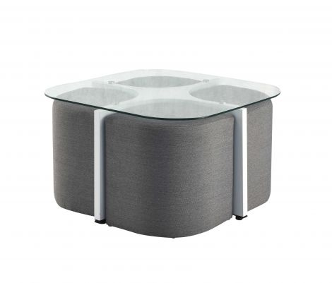 Table basse Harry avec 4 poufs