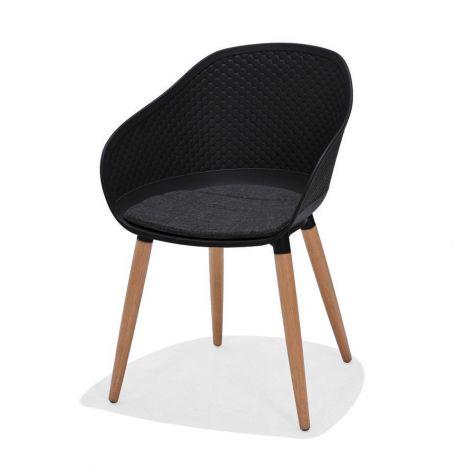 Chaise de jardin Koperus - noir/teck