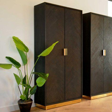 Présentoir Bony 100cm 2 portes - noir/or